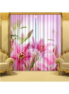 Delicate and Charming Water Lily Printed 3D Curtain