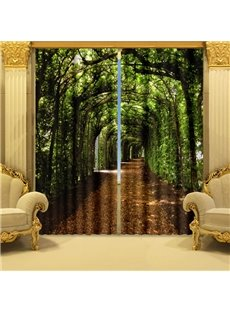 Fantastic Green Corridor Printing Polyester 2-Pieces 3D Curtain