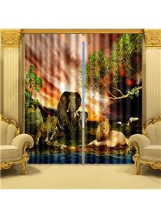 The Land of Animals Kingdom Printed 3D Curtain