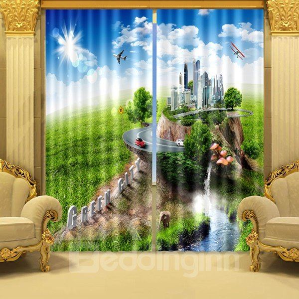 Blue Sky Green Grassland and Modern City Printed 3D Curtain