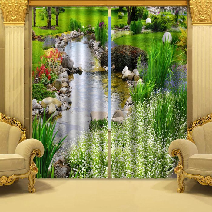 Wonderful Stream of Water Polyester 2-Piece 3D Curtains