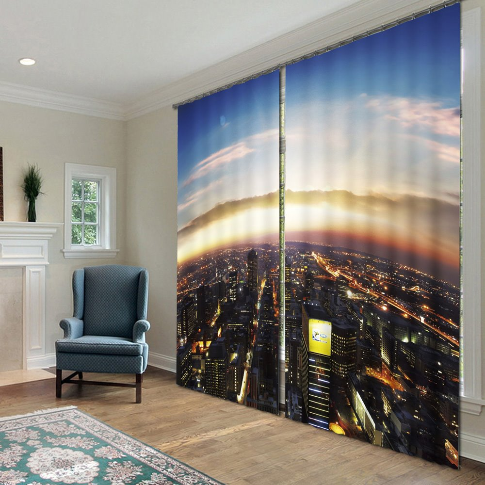 Amazing Dreamlike City Polyester 2-Piece 3D Curtains