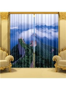 The Great Wall and Mountains with Green Trees Printed 3D Curtain