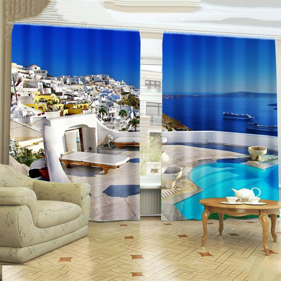 Vacation Sea Castle Scenery 3D Printing Curtain