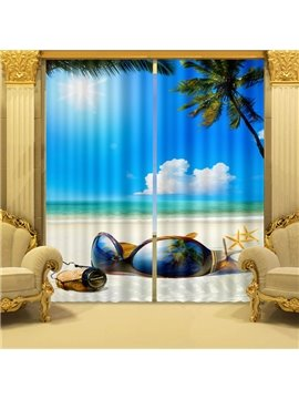 Chic Big Sunglasses Relaxing Sea Printing 3D Curtain