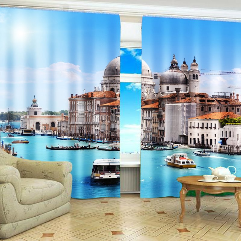 Top Selling Holiday Resort 2-piece 3d Curtains