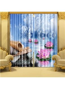 Wonderful Lotus on Water Printing 3D Curtain