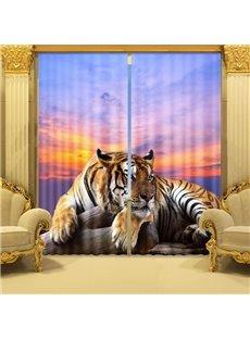 Decoration Lifelike 3D Crouching Tiger Print Curtain
