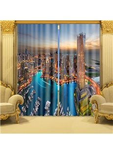 Vivid 3D Sunset Seaside City Scene Blackout Curtain