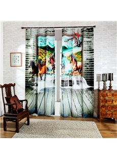 Impressive Colored Running Horse Print 3D Curtain