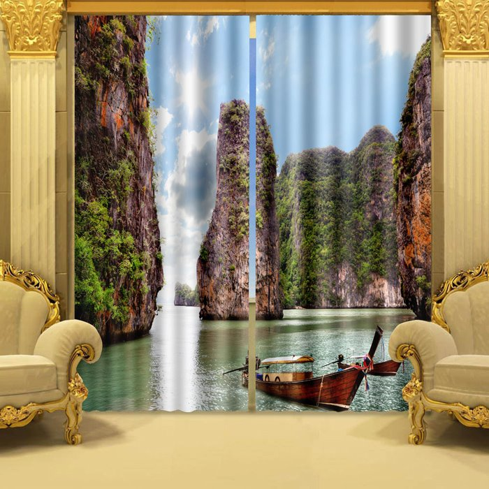 Classic Nature Scenery Boat Green Mountain 3D Curtain