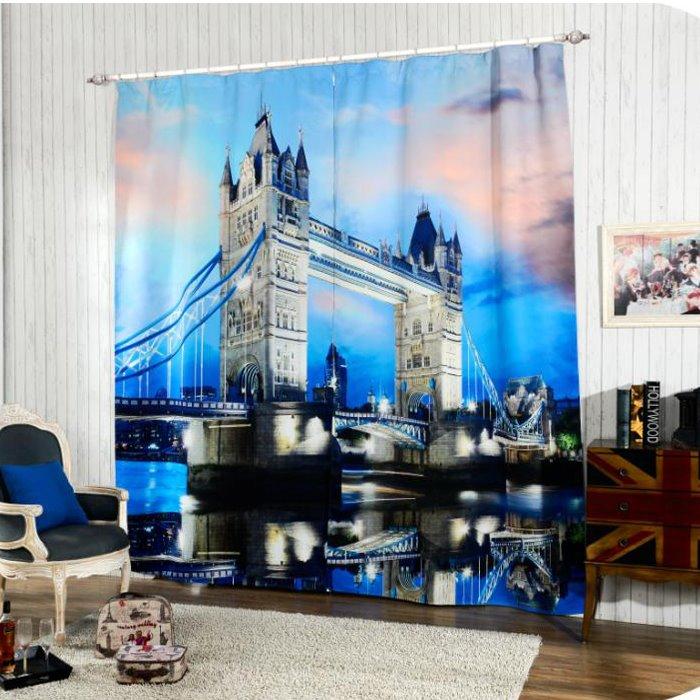 Stunning Tower Bridge at Night Printing 3D Curtain
