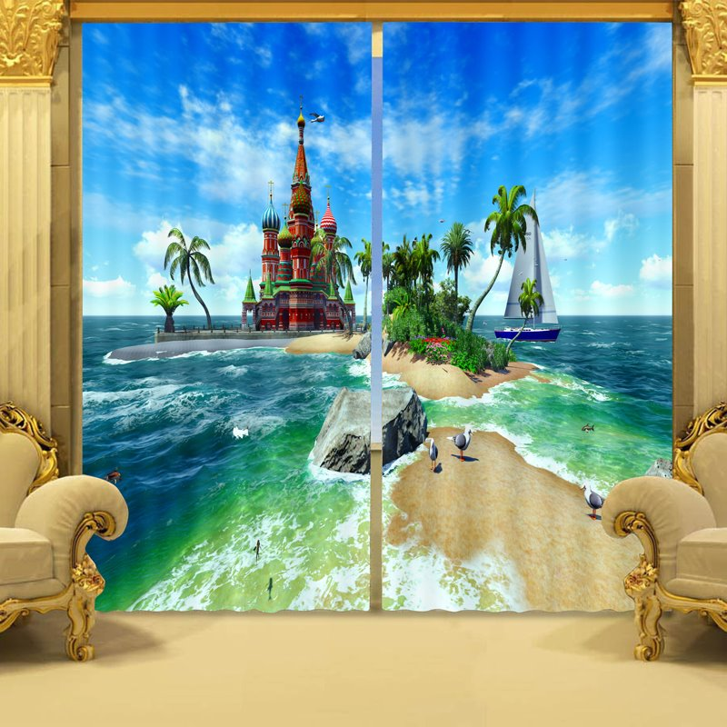 Stunning Natural Scenery Print 3d Blackout Curtain