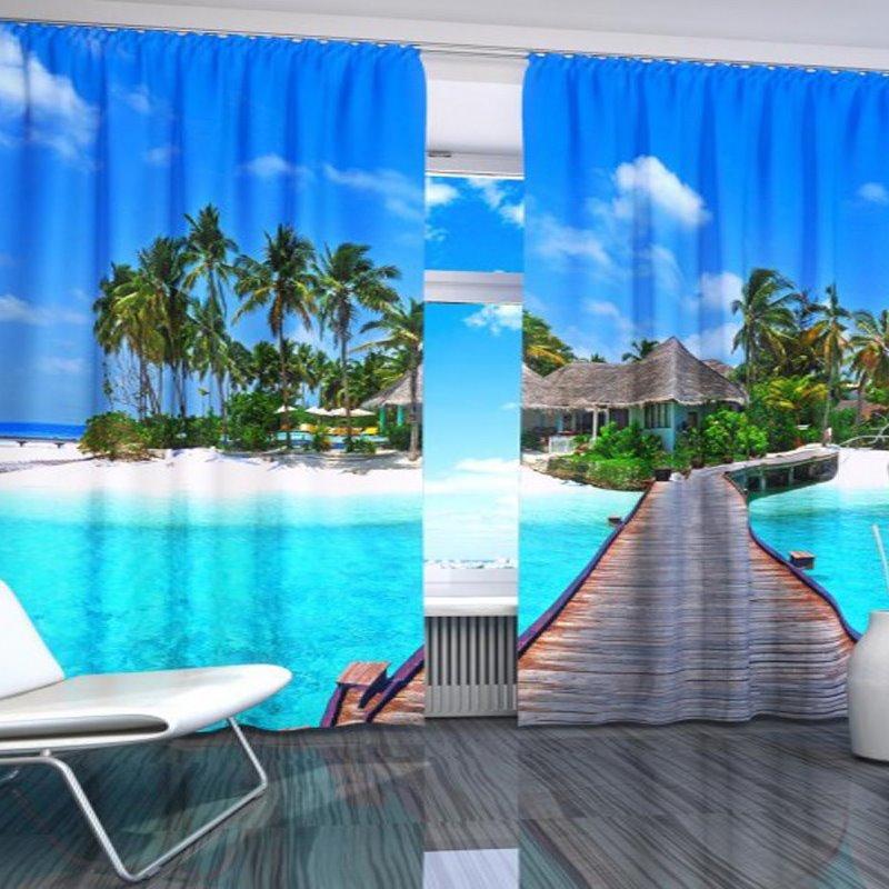 Wonderful Pretty Island 2-Pieces Polyester 3D Curtains