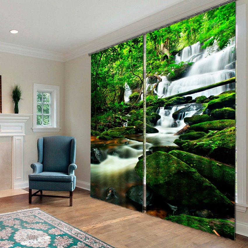 Wonderful Waterfall 3D Effects Print Home Decor Curtain