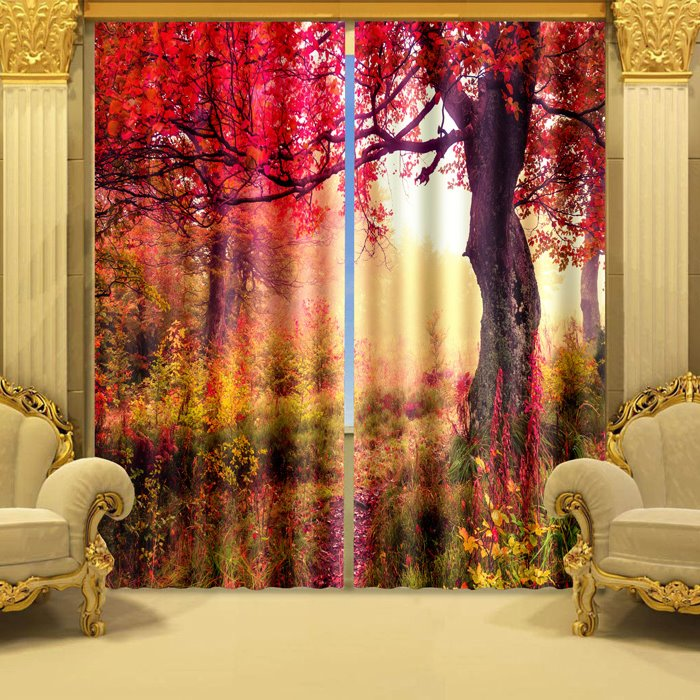 3D Beautiful Red Tree Printed Vibrant Color Natural Scenery Blackout and Decoration Curtain beddinginn