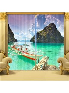 Wonderful Sea Scenery Print 3D Blackout Curtain
