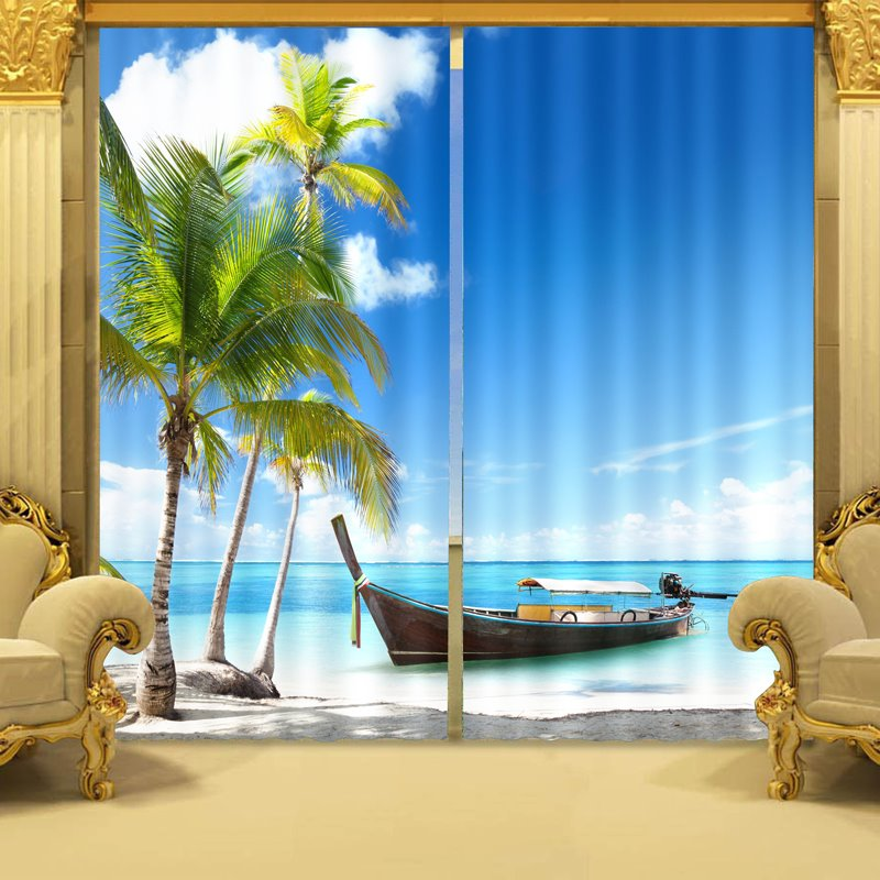 Graceful Coconut Tree And Blue Sea Printing 3d Curtain