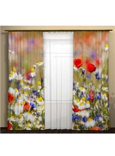 Blooming Daisy and Rose Printing 3D Curtain