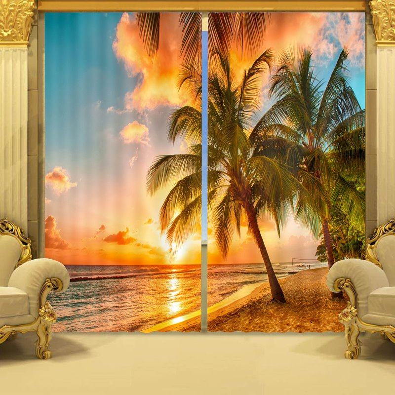 Coconut Tree in Sunset Print 3D Curtain