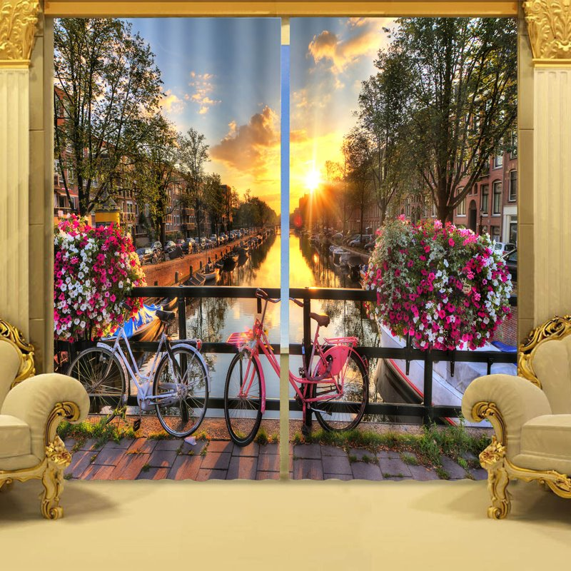 Exquisite City in Sunset Print 3D Curtain