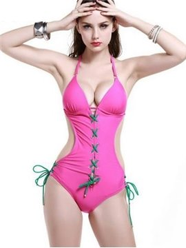 Beautiful Pink Contra Color String Adjustable Straps Monokini