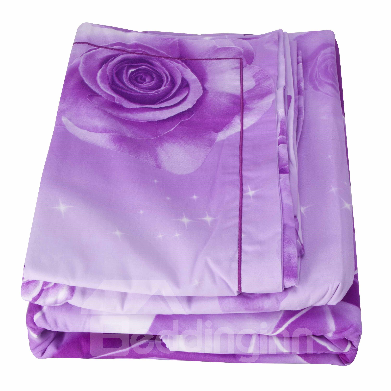 Brilliant Purple Rose Print 4-Piece Cotton Duvet Cover Sets