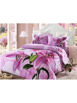 Fragrant Pink Lily Print 4-Piece Duvet Cover Sets