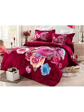 Top Class Colorful Rose Print 4-Piece Duvet Cover Sets