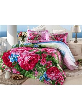 Luxury Red Peony Print 4-Piece Cotton Duvet Cover Sets