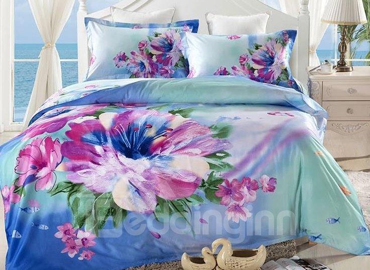 Fresh Flower Oil Painting 4-Piece Cotton Duvet Cover Sets