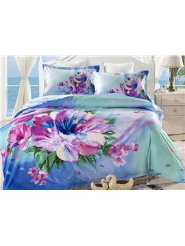 Fresh Flower Oil Painting 4-Piece Cotton Duvet Cover Sets