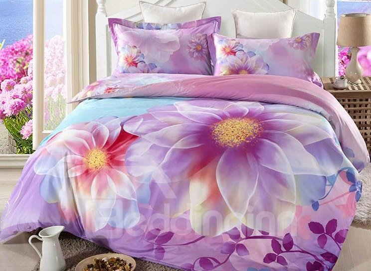 Dazzling Flower Print 4-Piece Cotton Duvet Cover Sets