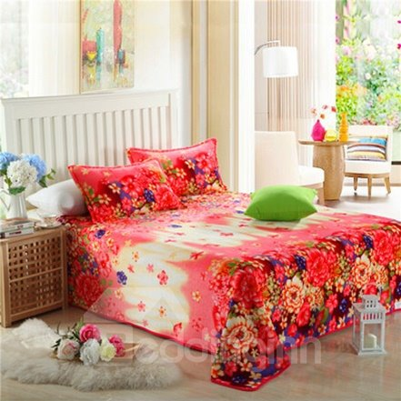 Warm Spring with Beautiful Flowers Flannel Sheet