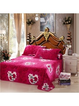New Arrival Roses Printed Flannel Sheet