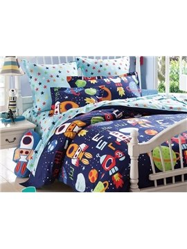 Space Adventures Print 3-Piece Cotton Duvet Cover Sets