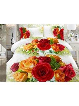 Orange and Pink Rose Print 4-Piece Polyester Duvet Cover Sets
