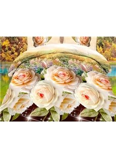 Camellia Flower Print 4-Piece Polyester Duvet Cover Sets