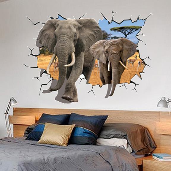 Amazing Broken Hole Two Africa Elephants Pattern 3D Wall Sticker
