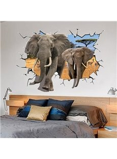 Amazing Broken Hole Two Africa Elephants Pattern 3D Wall Sticker