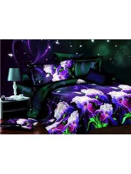Charming Iris Flower Print 4-Piece Polyester Duvet Cover Sets