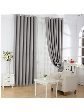 Fashion Gray High Shading Degree Grommet Top Curtain