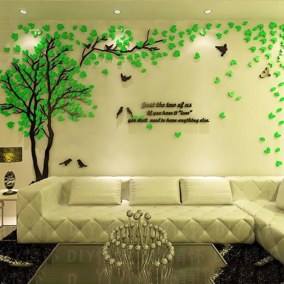 Aliexpress Com Buy New Design Creative Diy Wall Stickers: Creative Green Tree And Bird Pattern Crystal Acrylic 3D