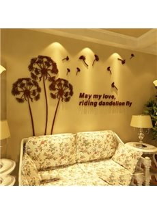 Fantastic Dandelion Crystal Acrylic 3D Wall Stickers