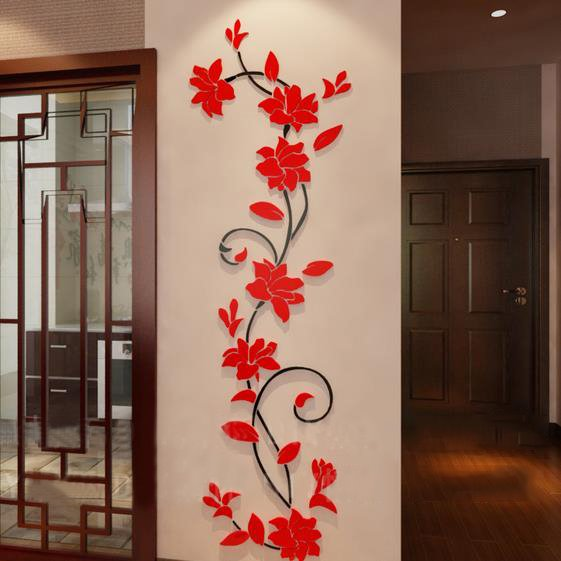 Beautiful jasmine flower crystal acrylic 3d wall stickers for Bedroom 3d wall stickers