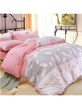 Elegant White Leaves Print 4-Piece Cotton Duvet Cover Sets