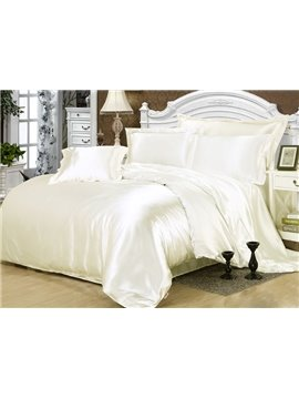 Cream White 4-Piece Silk-Like Duvet Cover Sets
