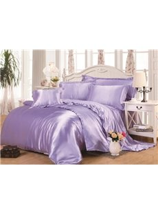 Lilac 4-Piece Silk-Like Duvet Cover Sets