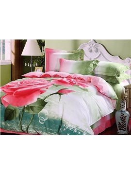 Pink Rose Flower and Bud Print 4-Piece Cotton Duvet Cover Sets