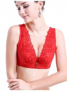 Wide Shoulder Straps Full Lace Tassel Front Red  Bra